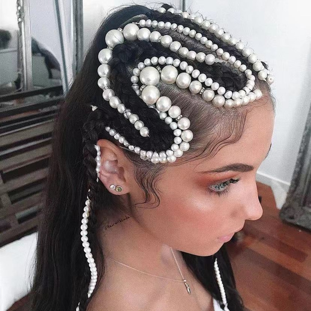 Pearl Tassel Braided Hair Chain Hair Clip